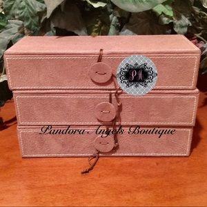 Pandora Brown Suede 3 Tier Jewelry Box